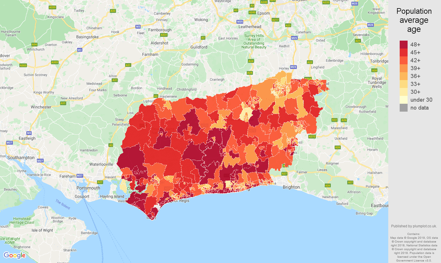 West Sussex population average age map
