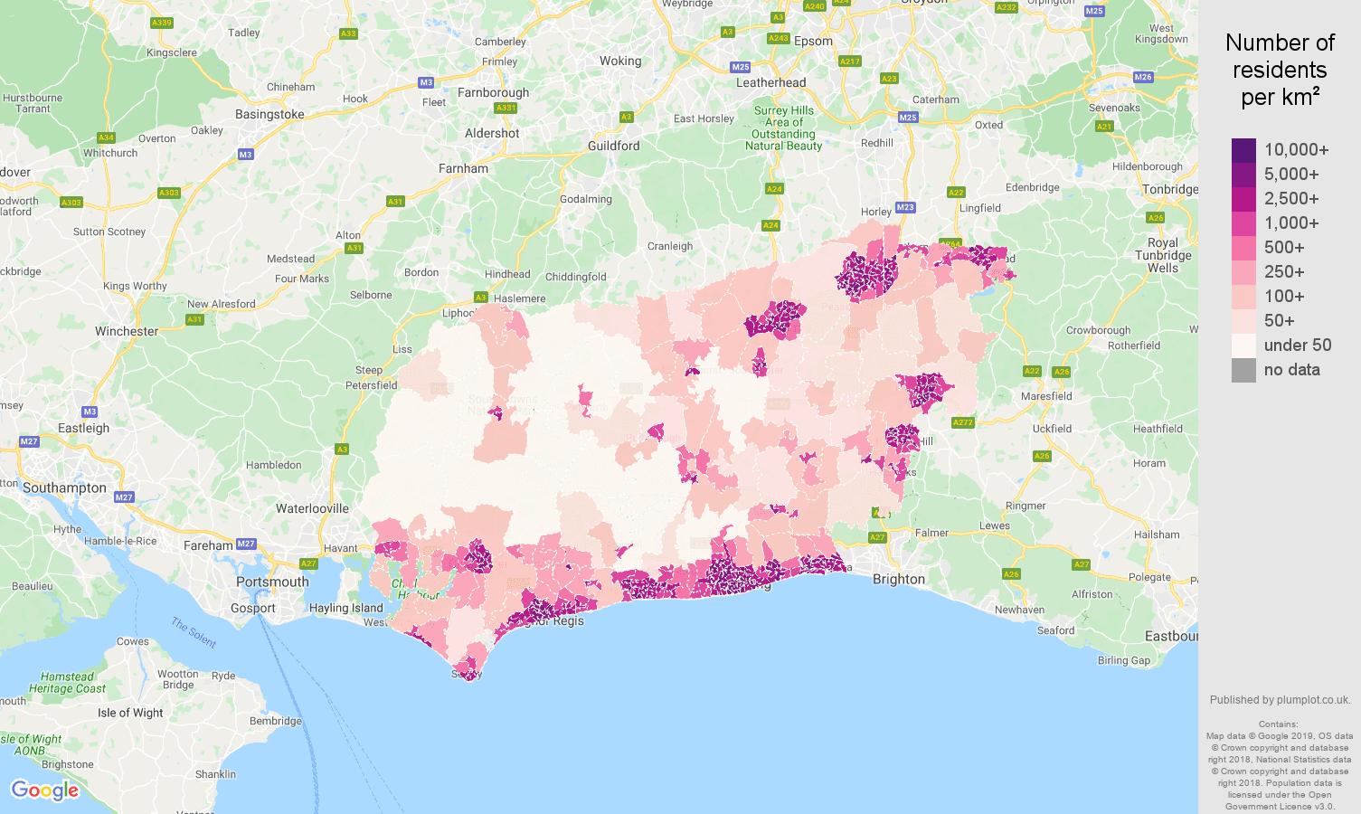 West Sussex population density map