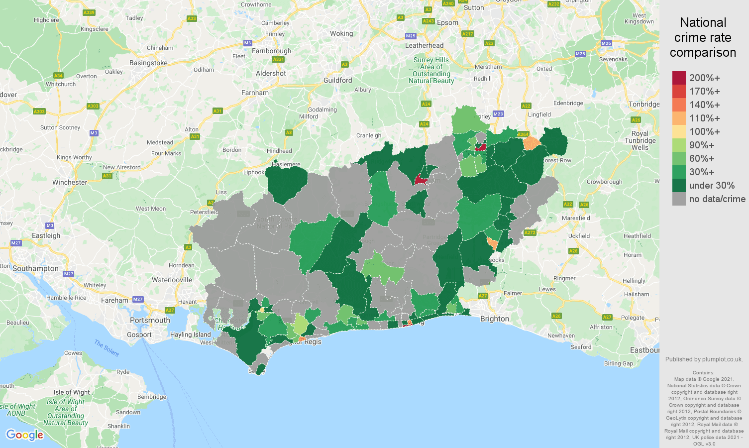 West Sussex theft from the person crime rate comparison map