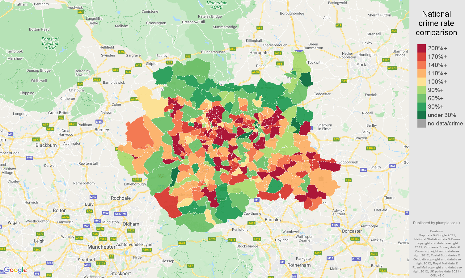 West Yorkshire criminal damage and arson crime rate comparison map