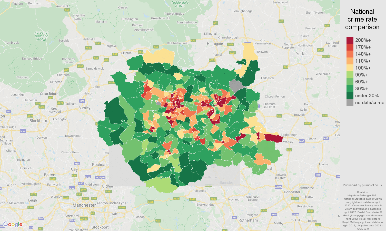West Yorkshire drugs crime rate comparison map