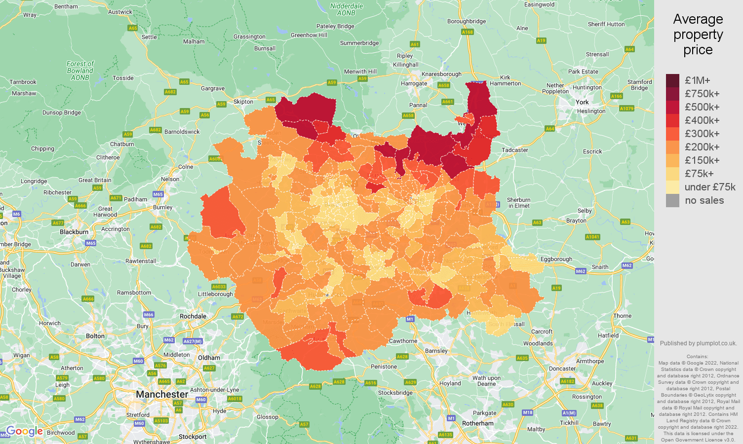 West Yorkshire house prices map