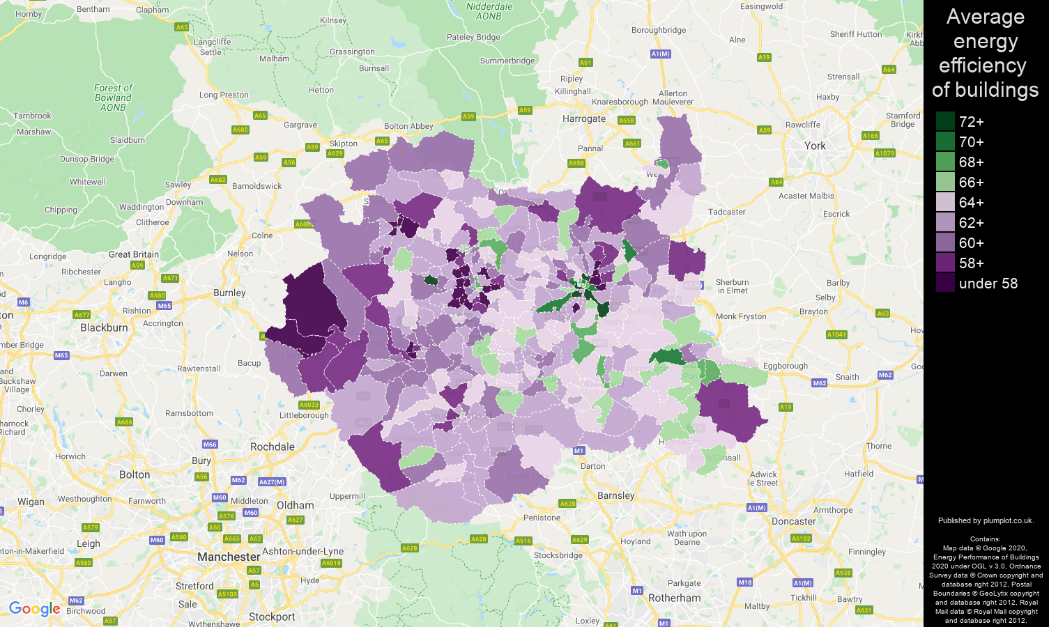 West Yorkshire map of energy efficiency of properties