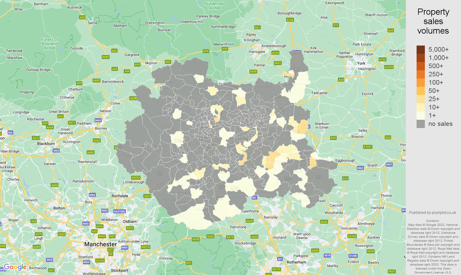 West Yorkshire map of sales of new properties