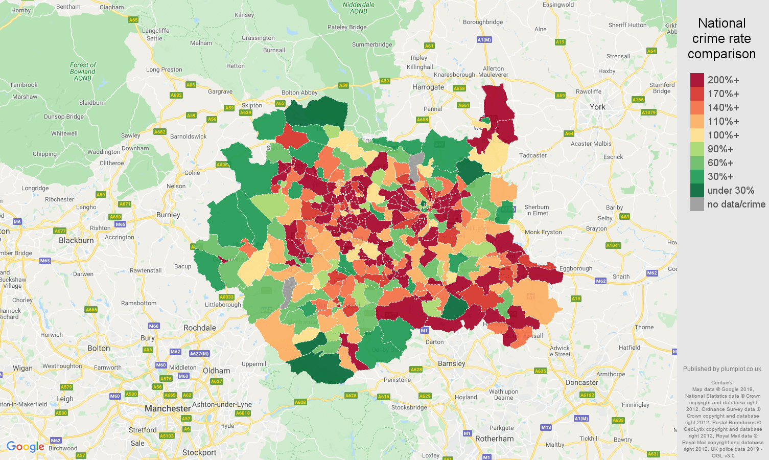 West Yorkshire other crime rate comparison map