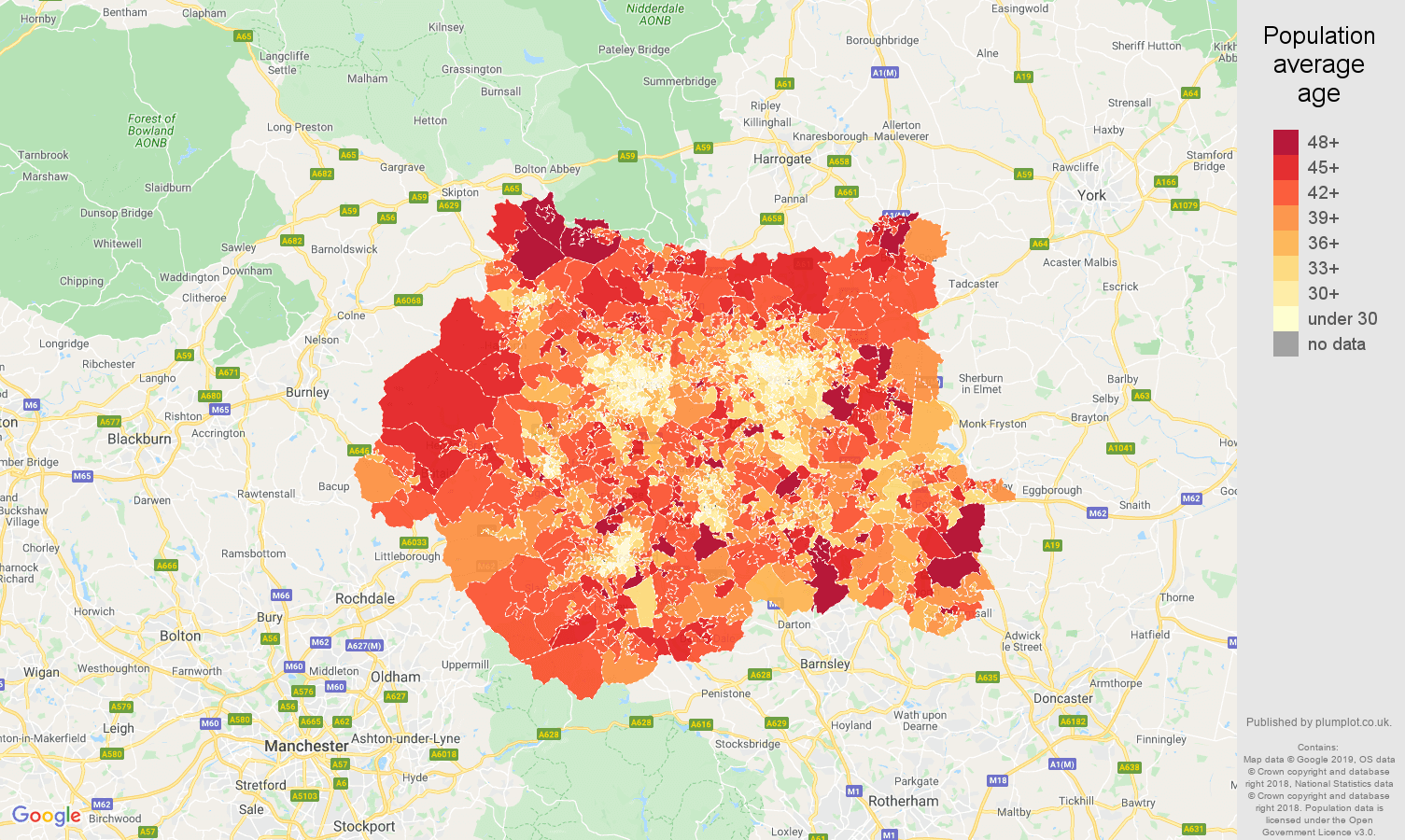 West Yorkshire population average age map