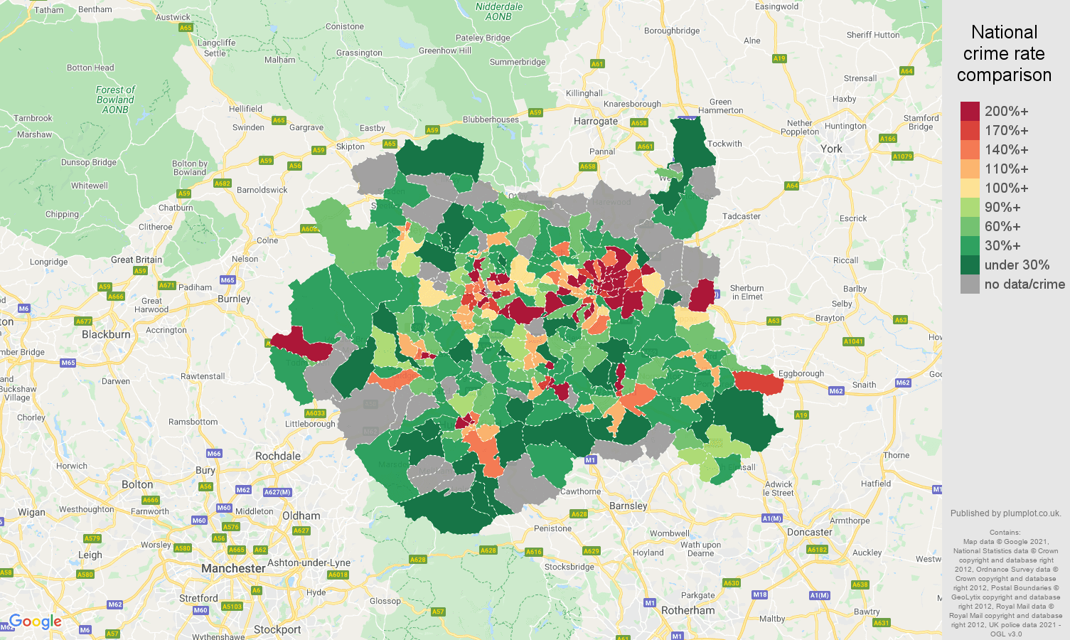 West Yorkshire robbery crime rate comparison map