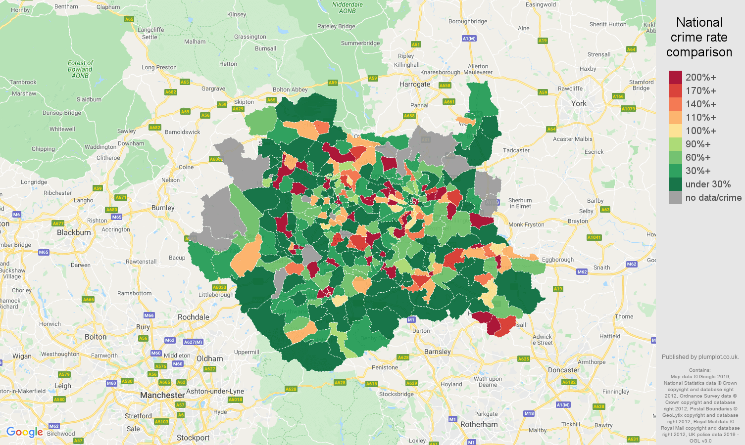 West Yorkshire shoplifting crime rate comparison map