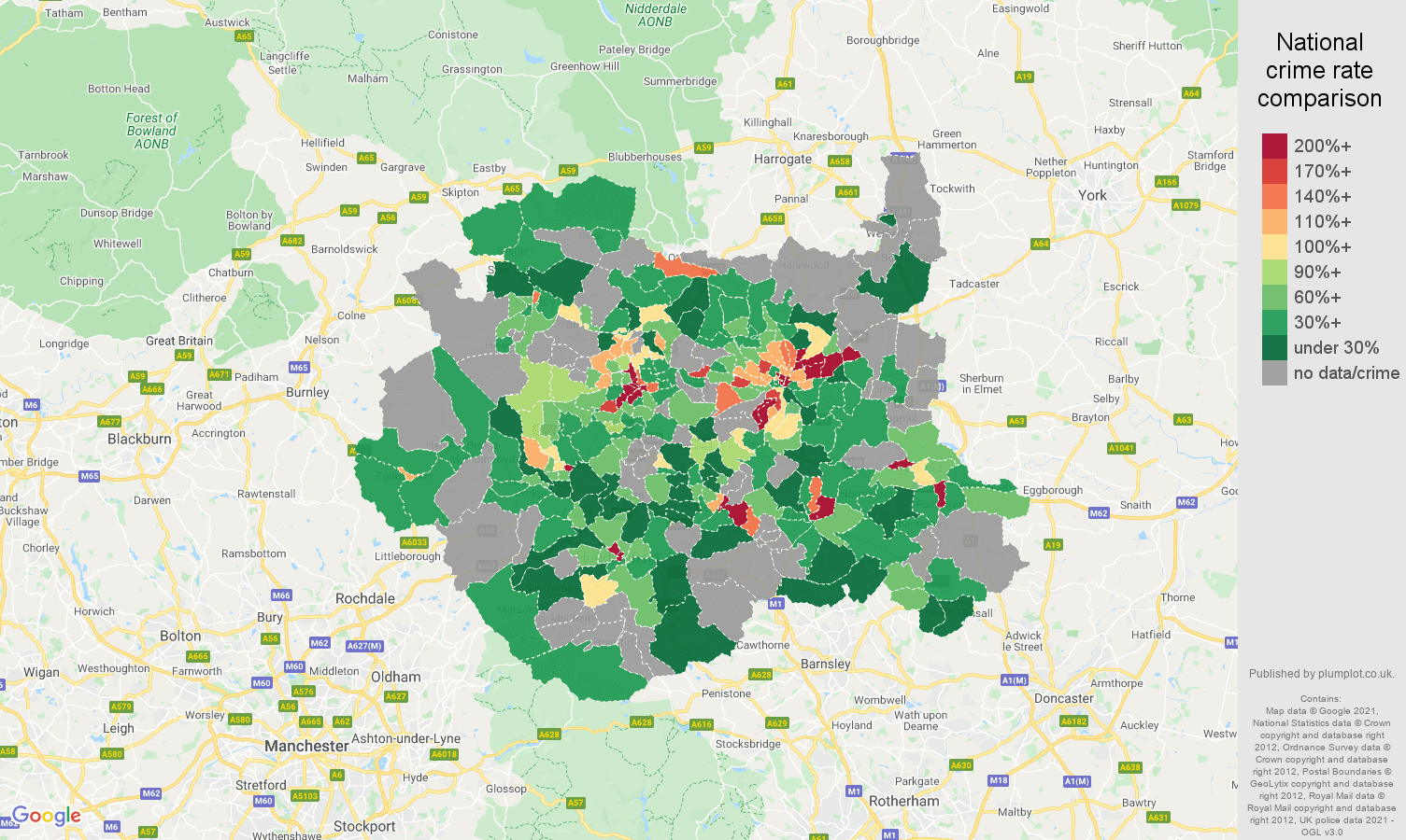 West Yorkshire theft from the person crime rate comparison map
