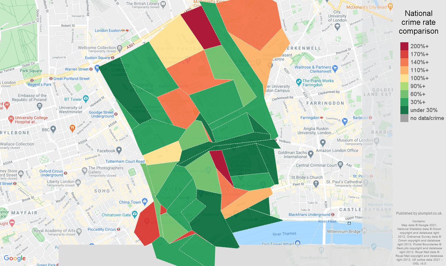 Western Central London antisocial behaviour crime rate comparison map