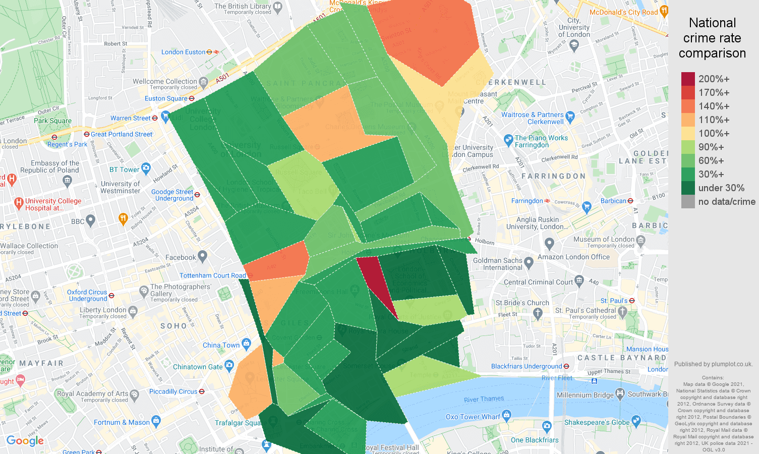 Western Central London burglary crime rate comparison map