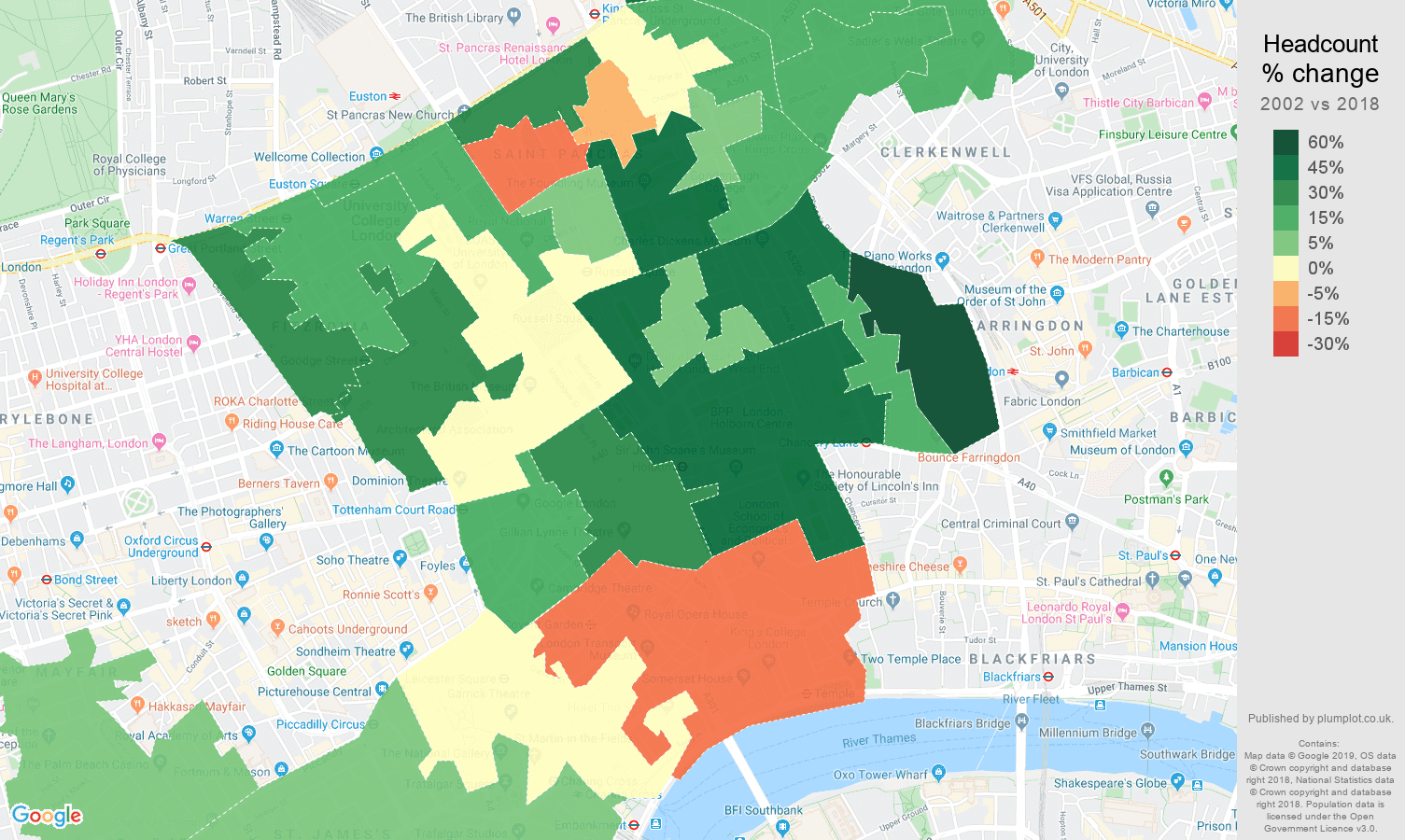 Western Central London headcount change map