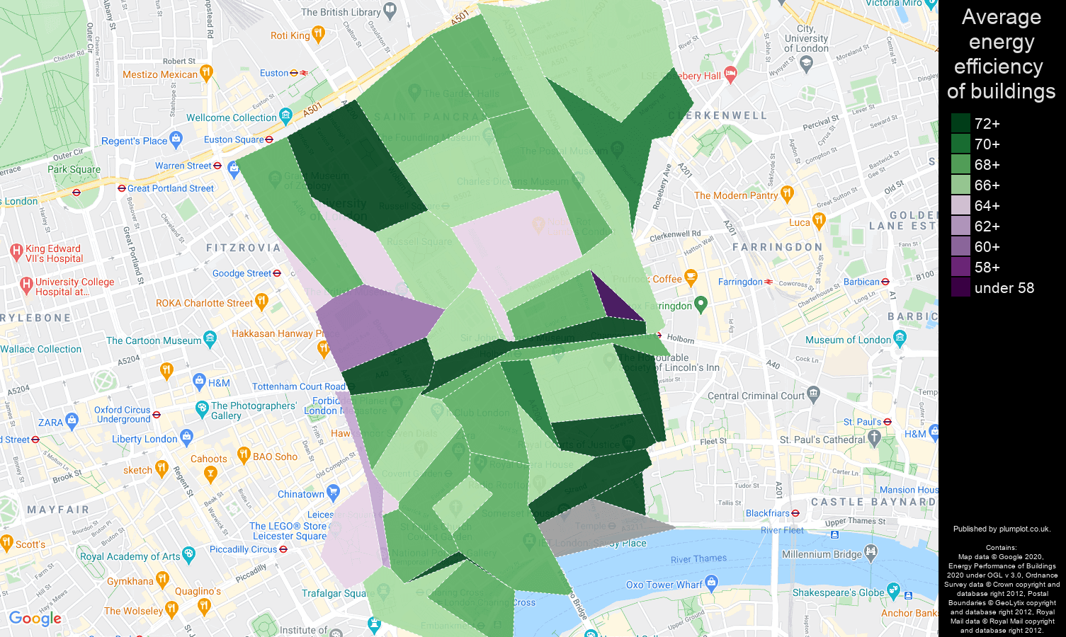 Western Central London map of energy efficiency of properties