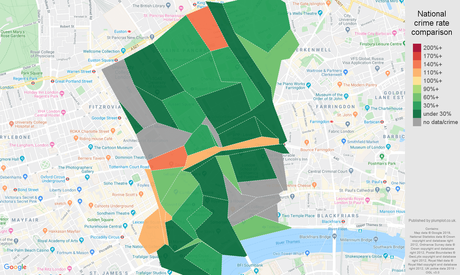 Western Central London other crime rate comparison map