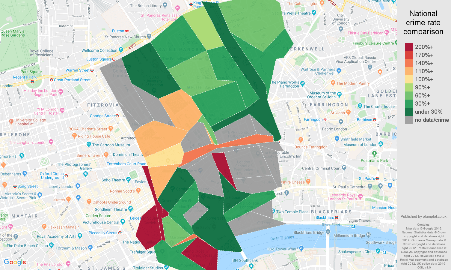 Western Central London possession of weapons crime rate comparison map