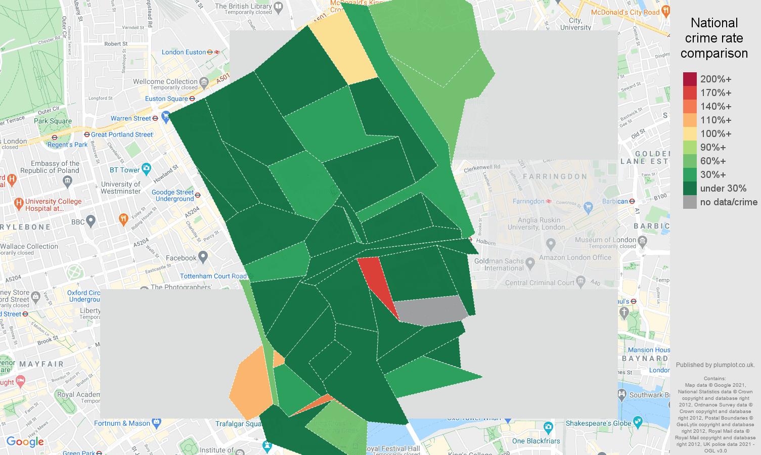 Western Central London violent crime rate comparison map