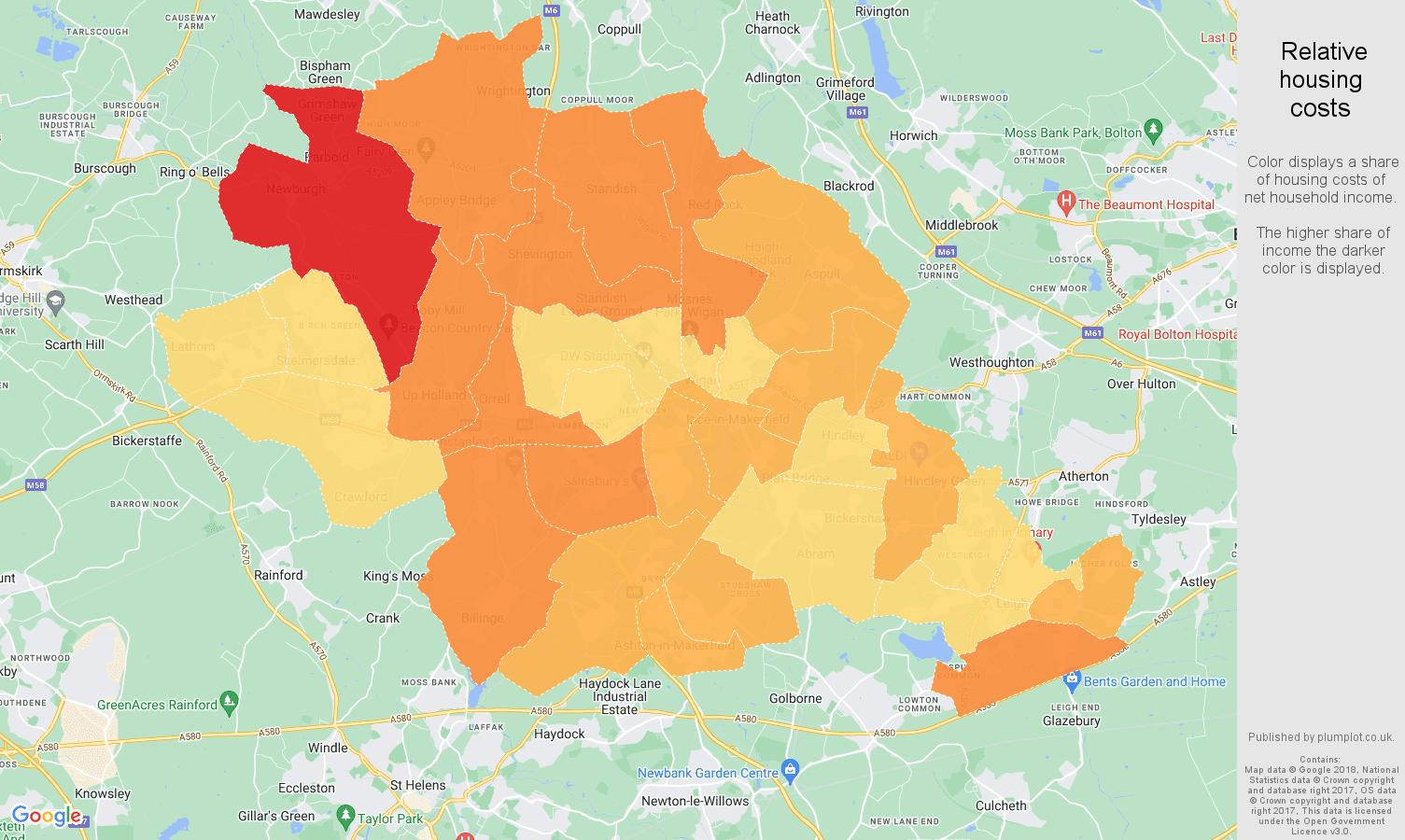 Wigan relative housing costs map