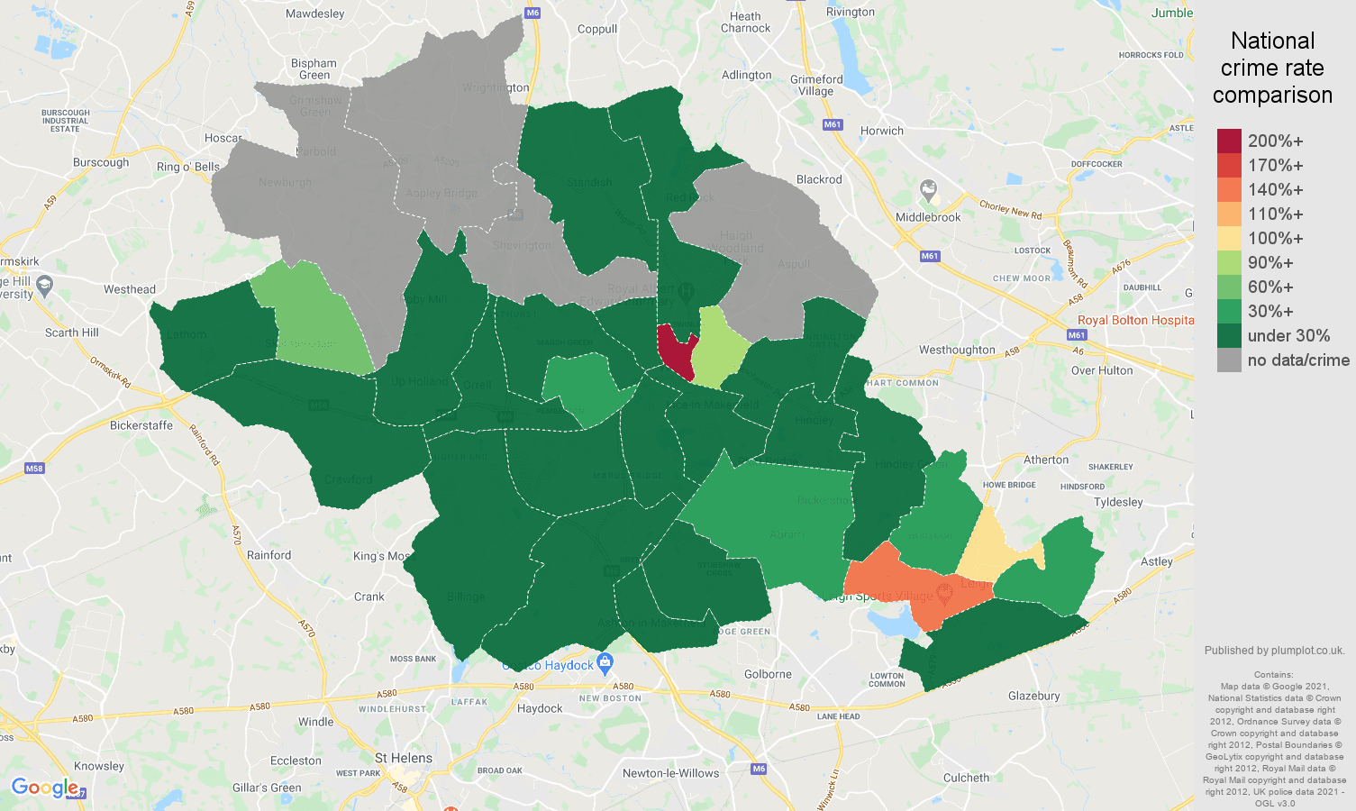 Wigan theft from the person crime rate comparison map