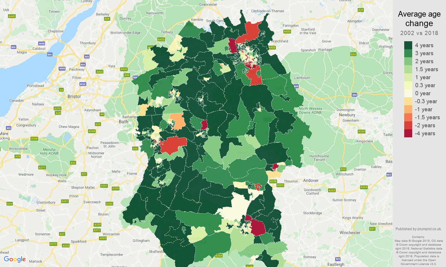 Wiltshire average age change map