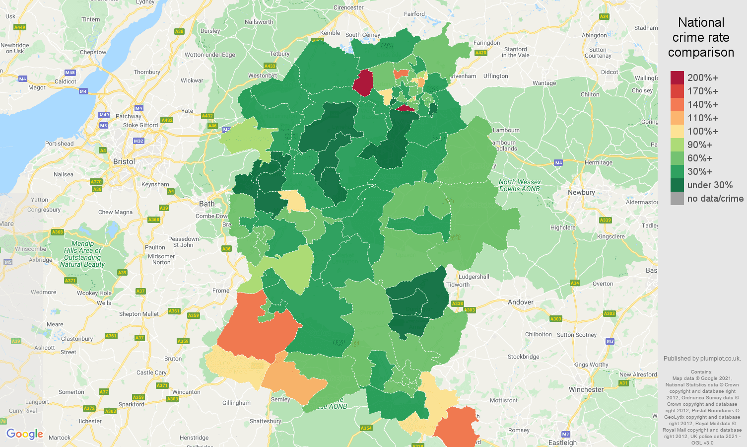 Wiltshire burglary crime rate comparison map