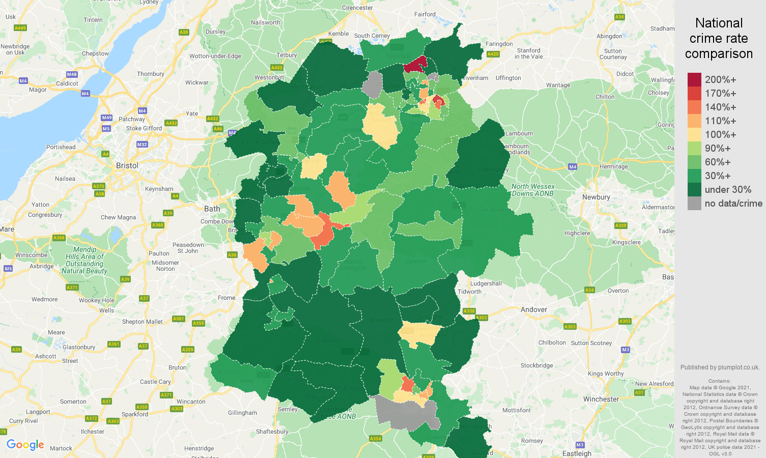 Wiltshire drugs crime rate comparison map