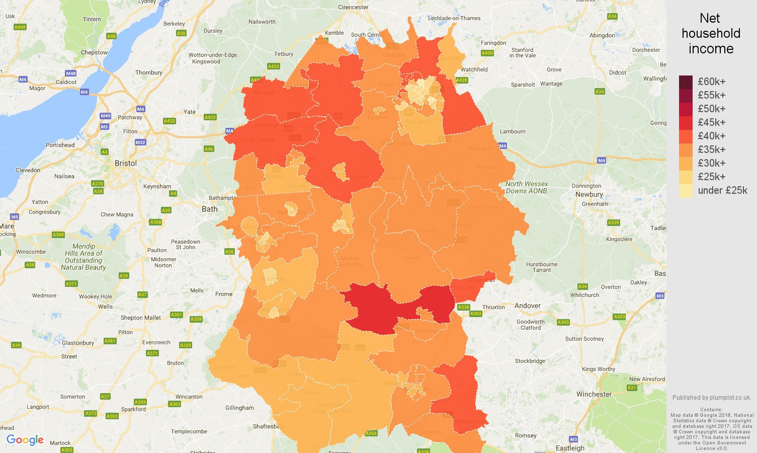 Wiltshire net household income map