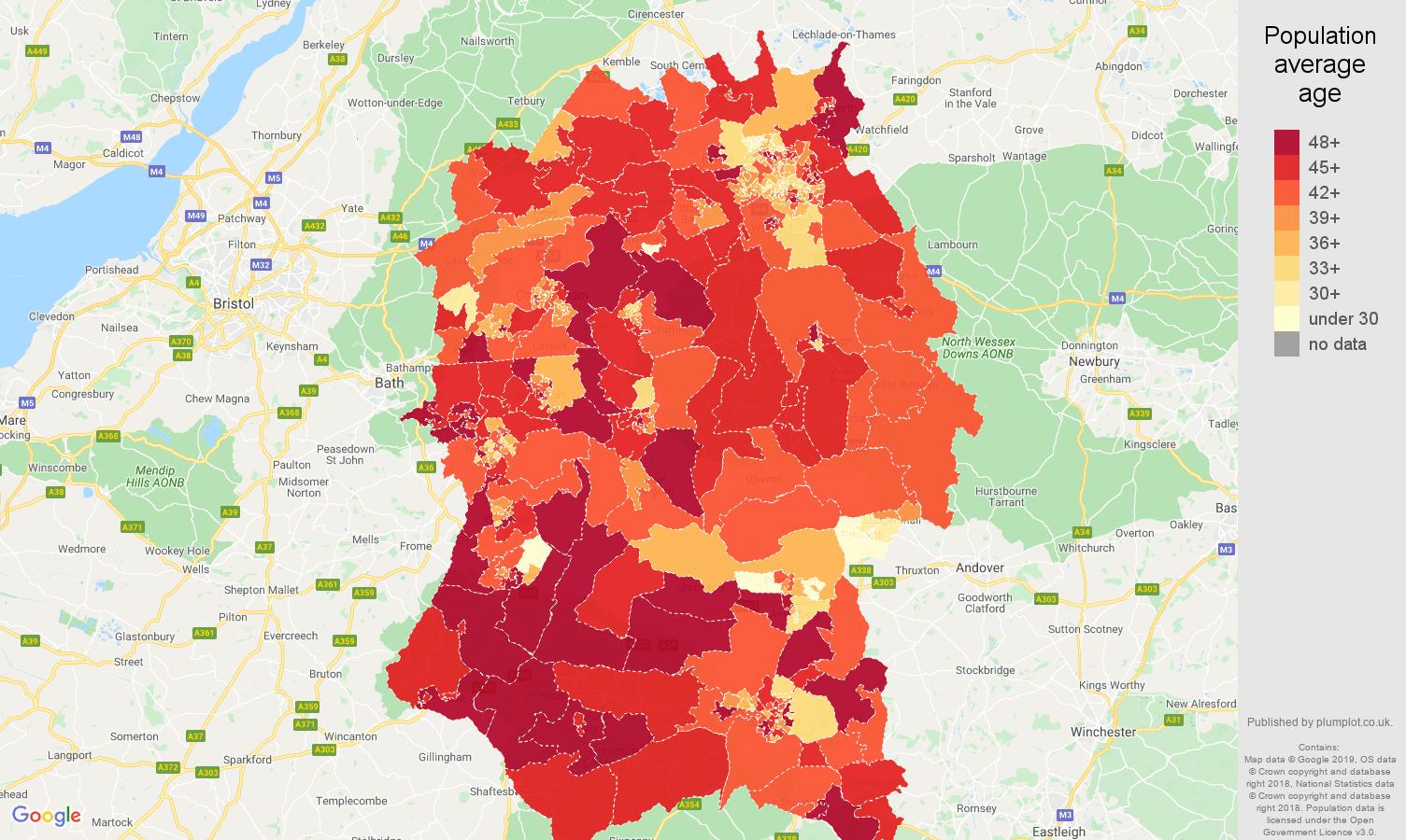 Wiltshire population average age map