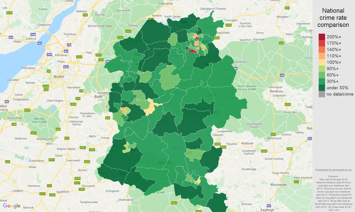 Wiltshire public order crime rate comparison map