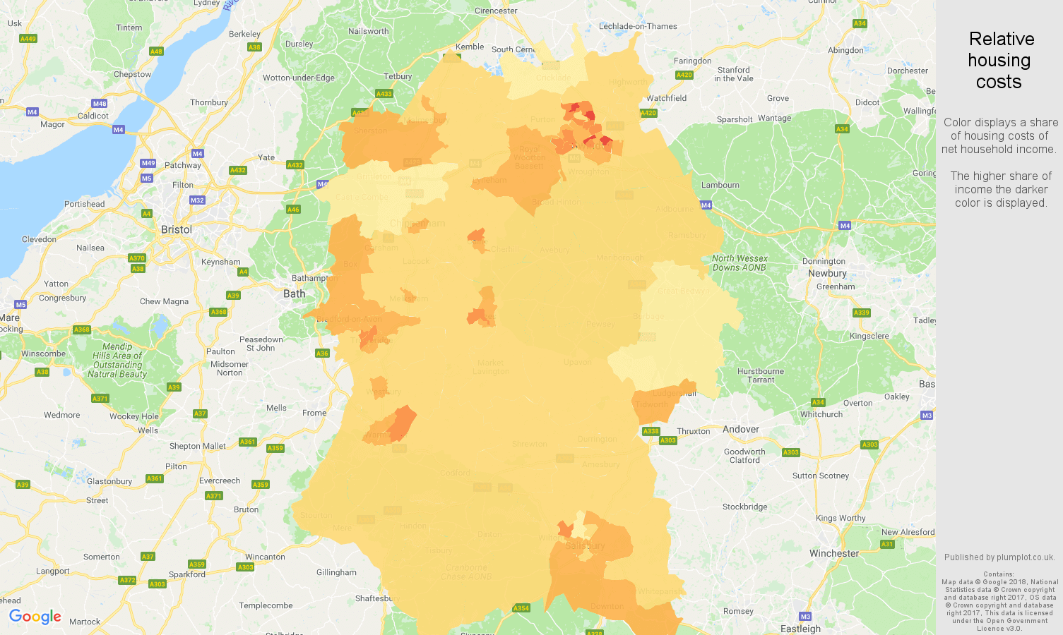Wiltshire relative housing costs map
