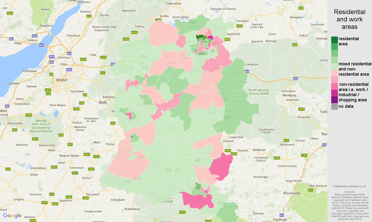 Wiltshire residential areas map
