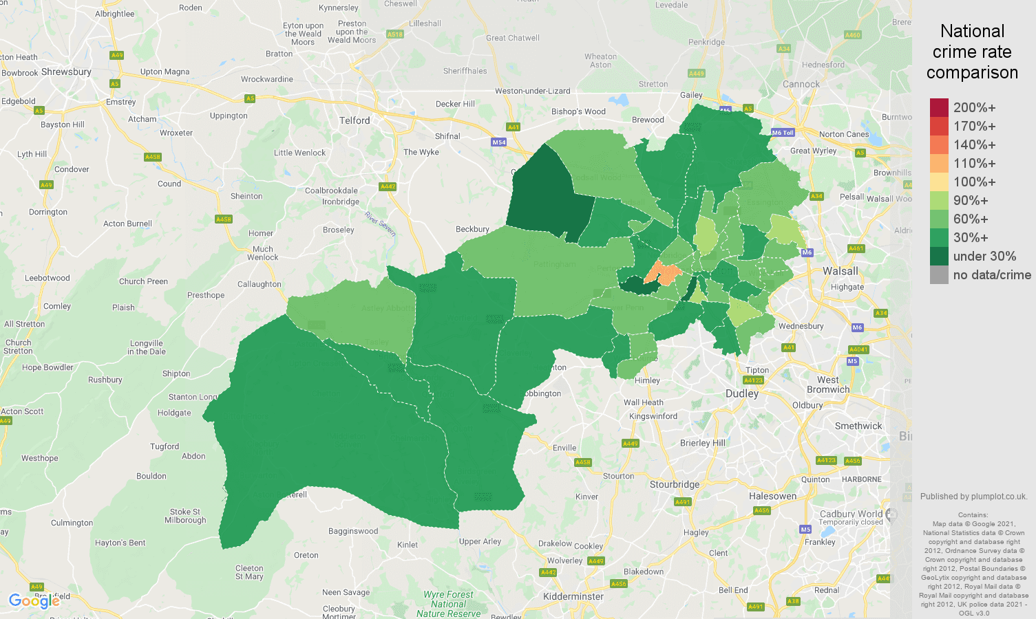 Wolverhampton antisocial behaviour crime rate comparison map