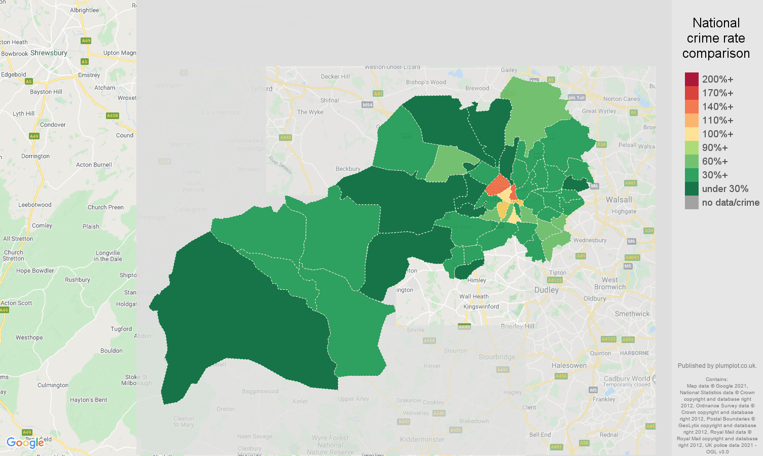 Wolverhampton drugs crime rate comparison map