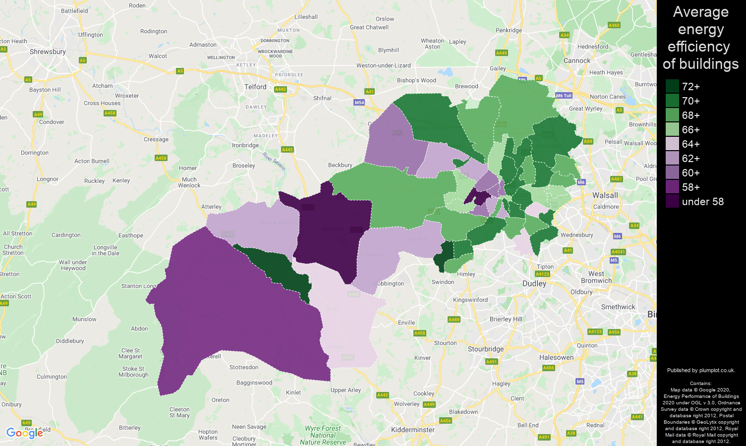 Wolverhampton map of energy efficiency of flats