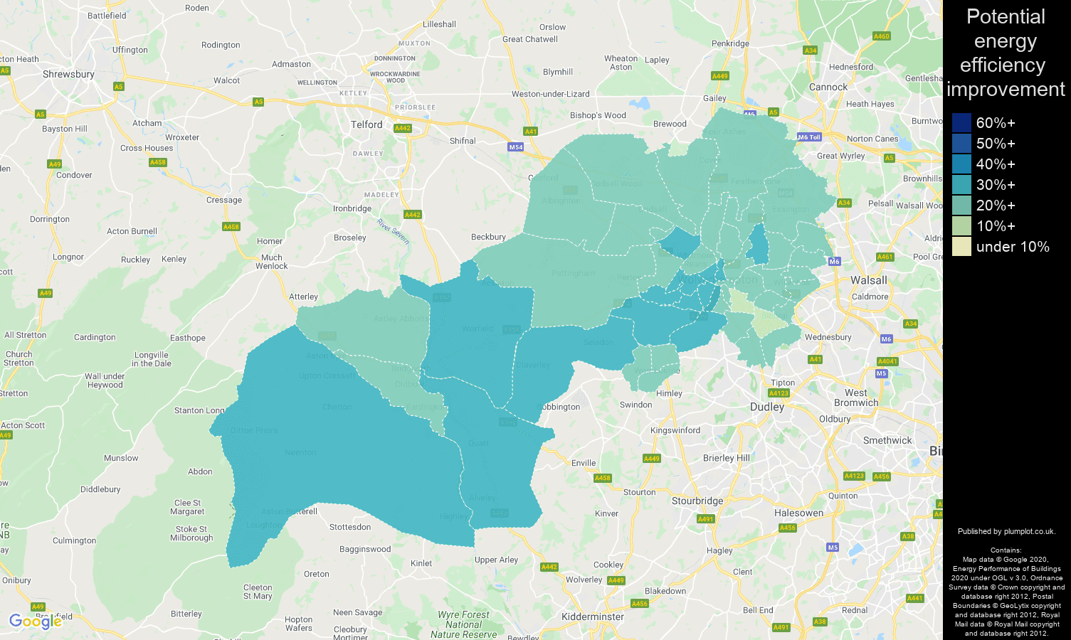 Wolverhampton map of potential energy efficiency improvement of houses