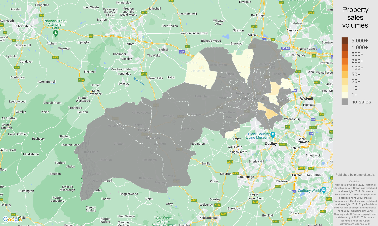 Wolverhampton map of sales of new properties