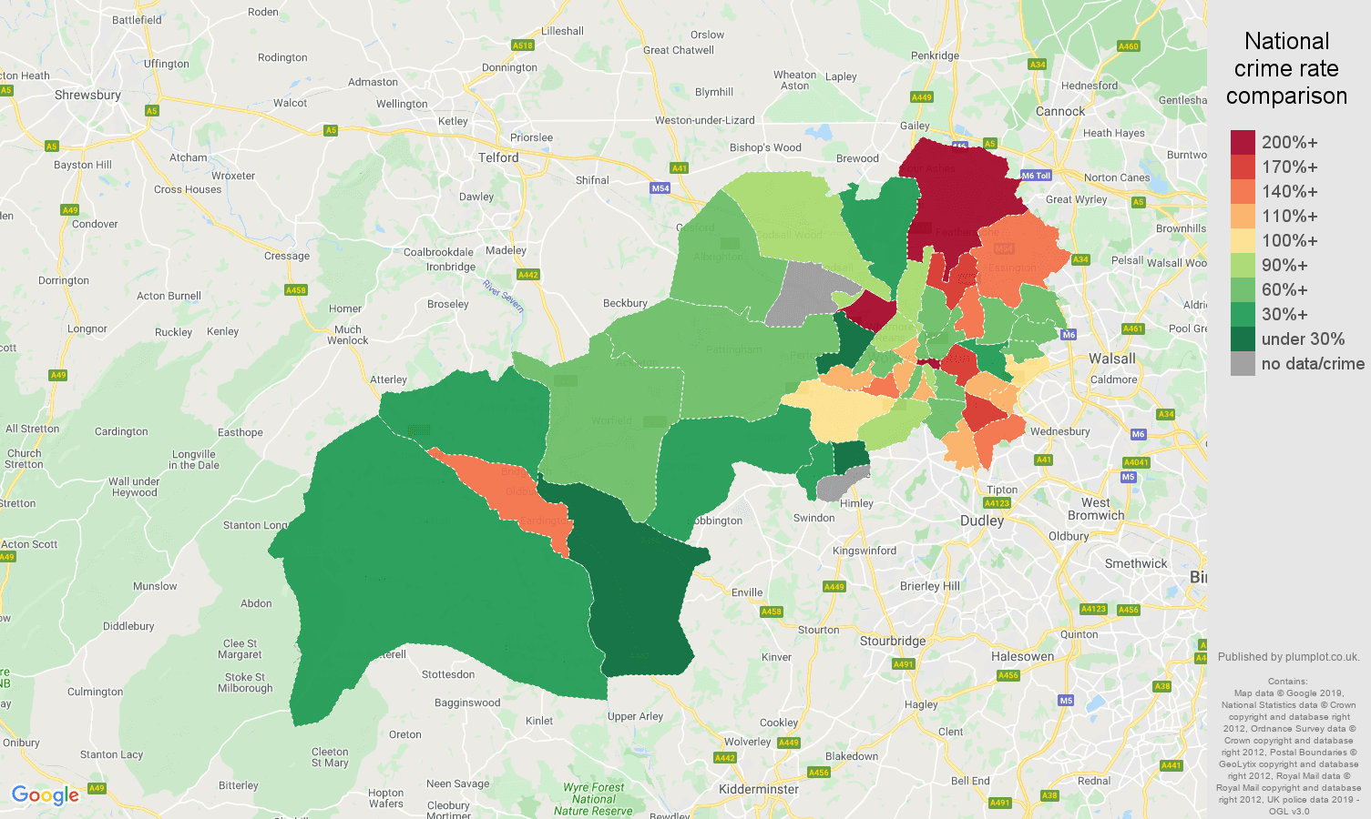 Wolverhampton other crime rate comparison map
