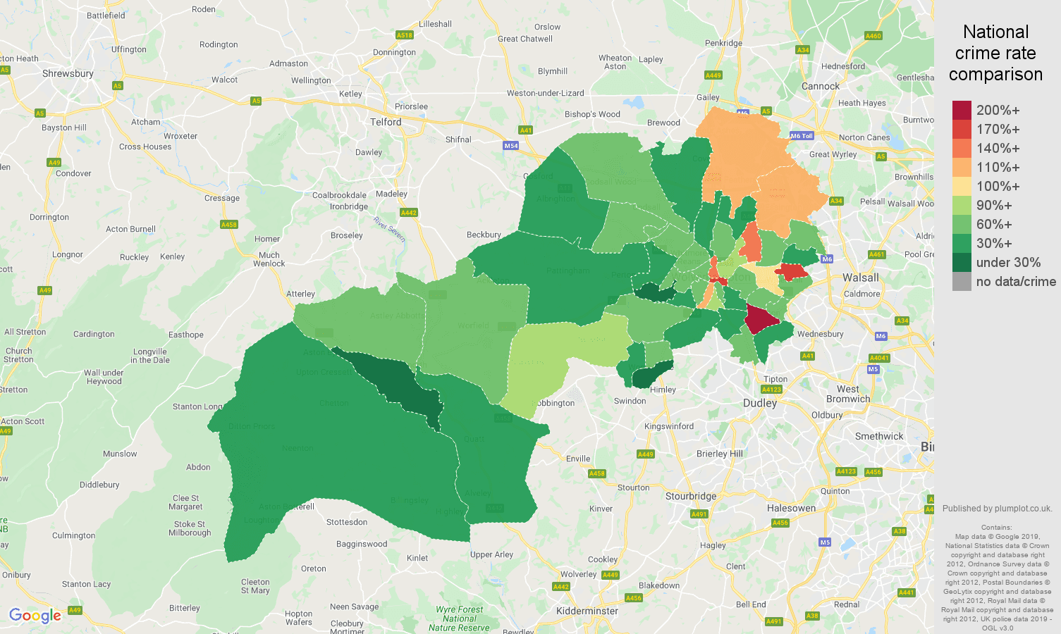 Wolverhampton other theft crime rate comparison map
