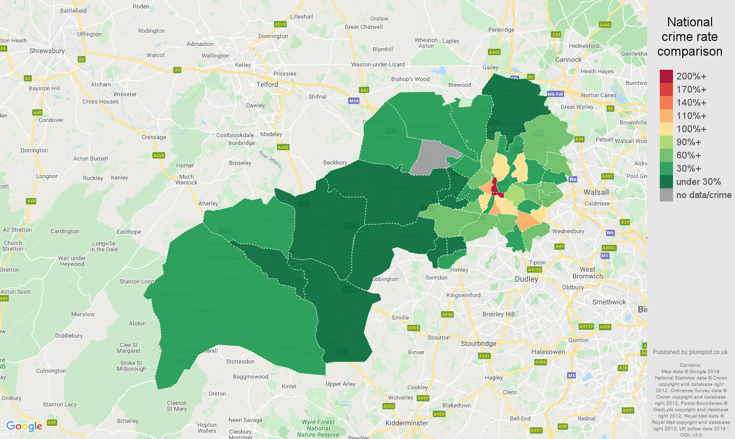 Wolverhampton public order crime rate comparison map