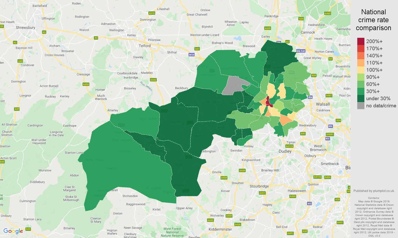 Wolverhampton public order crime rate comparison map