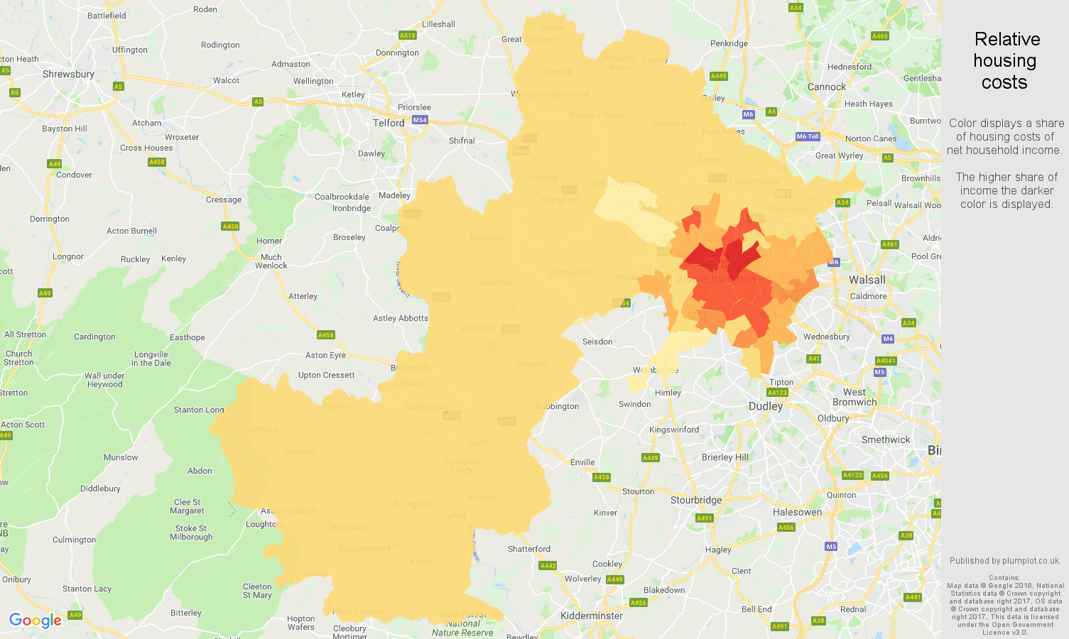 Wolverhampton relative housing costs map