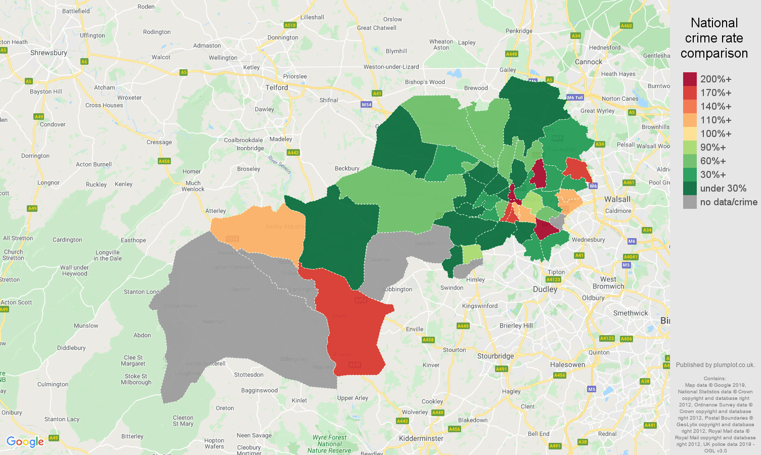 Wolverhampton shoplifting crime rate comparison map