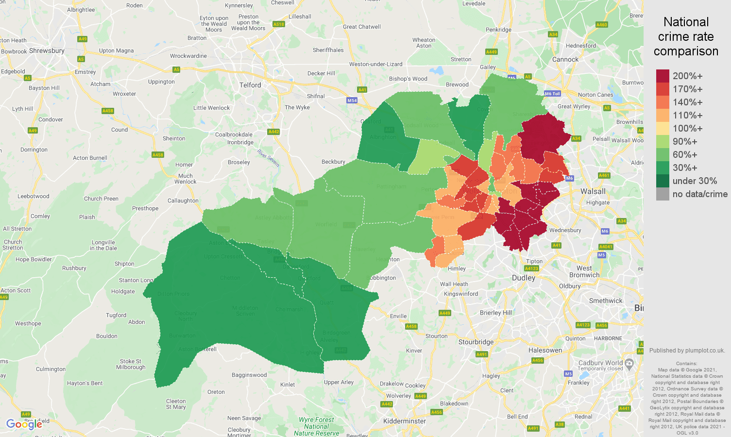 Wolverhampton vehicle crime rate comparison map