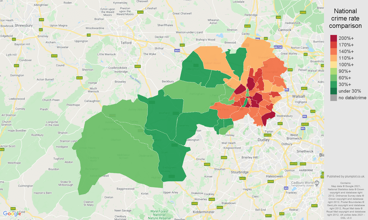 Wolverhampton violent crime rate comparison map