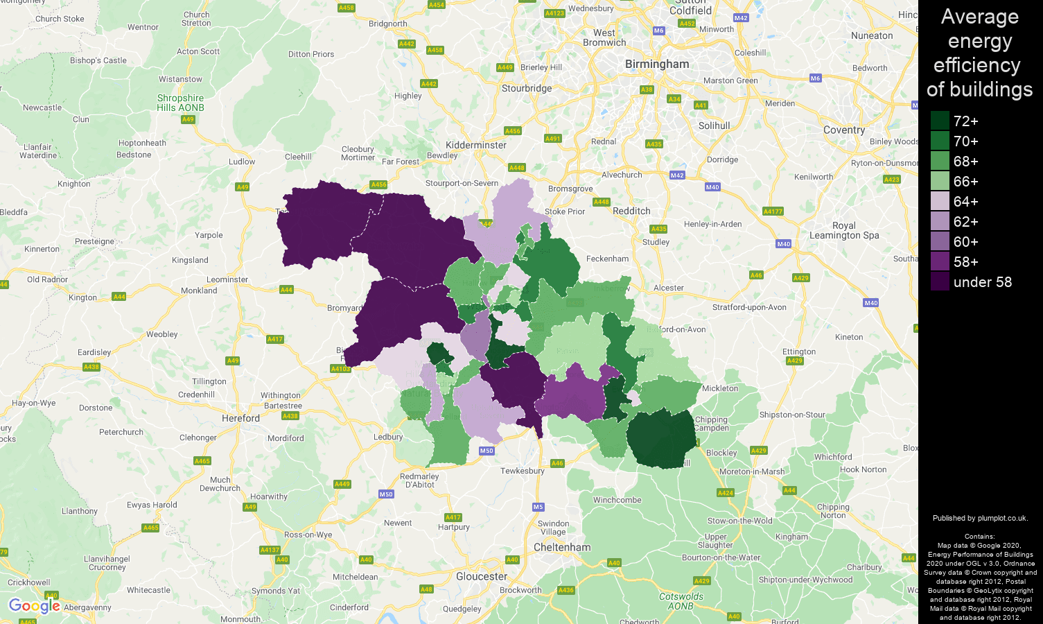 Worcester map of energy efficiency of flats