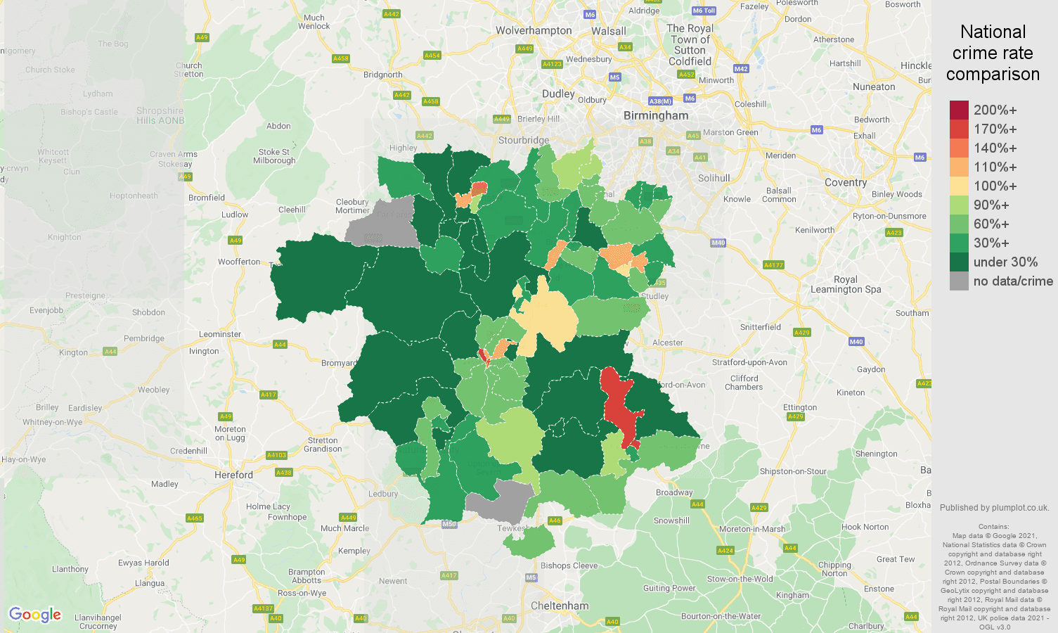 Worcestershire drugs crime rate comparison map