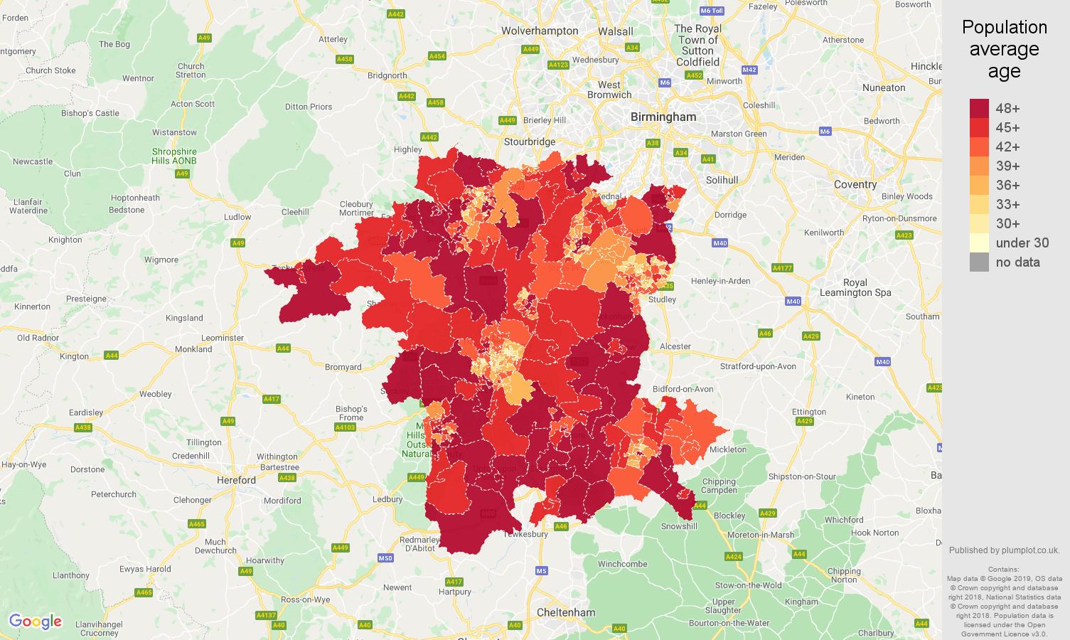 Worcestershire population average age map