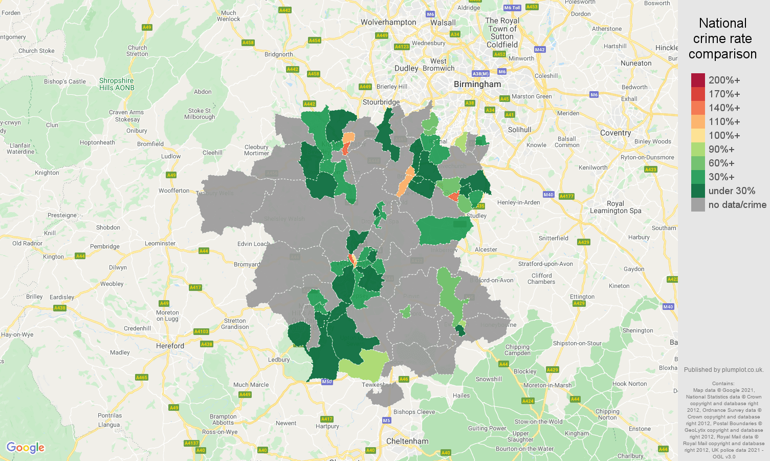Worcestershire theft from the person crime rate comparison map