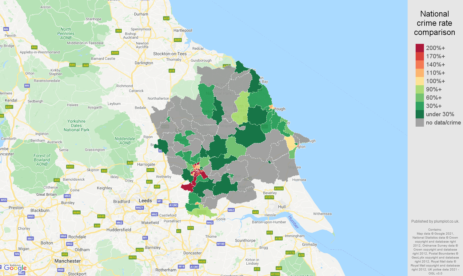 York bicycle theft crime rate comparison map