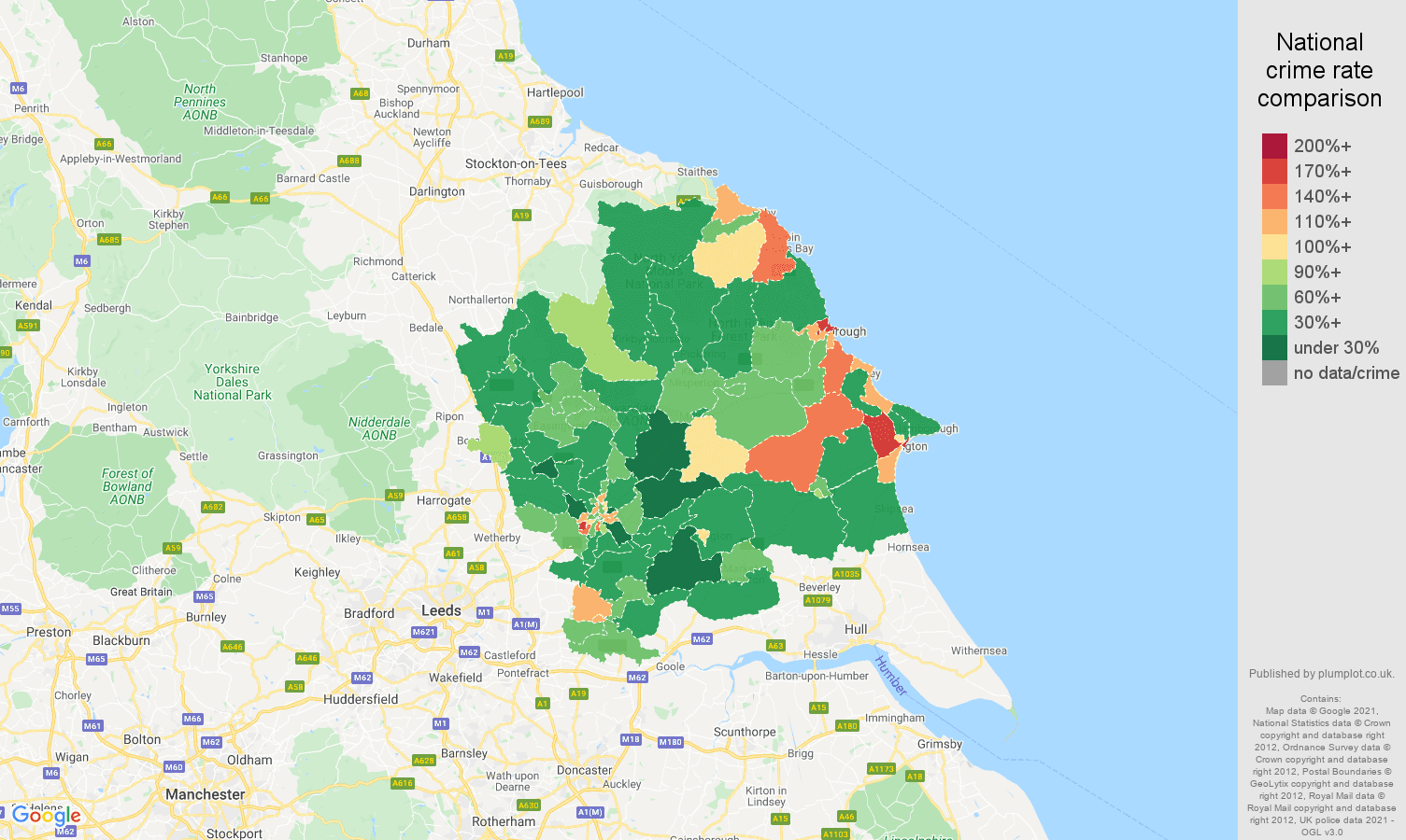 York criminal damage and arson crime rate comparison map