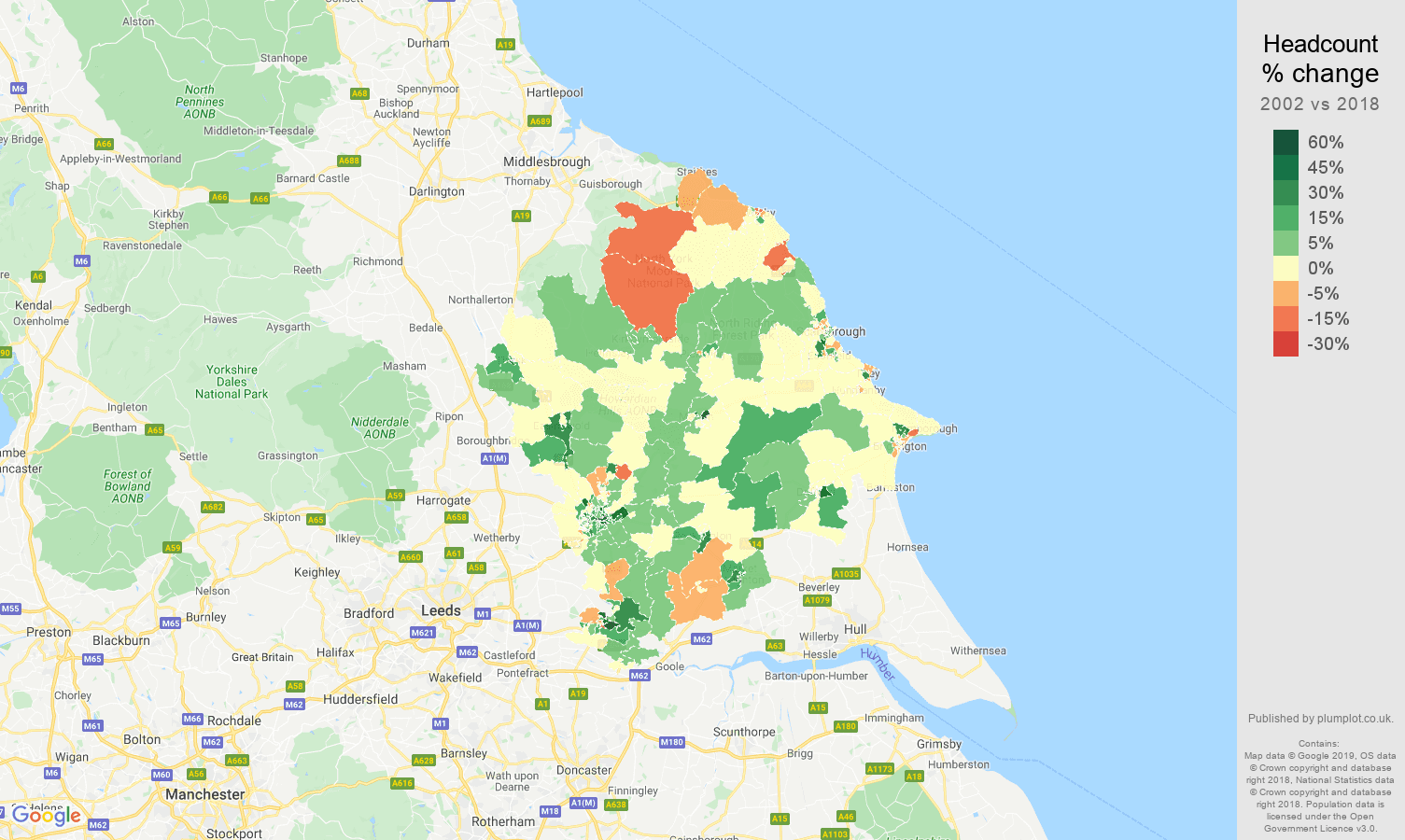 York headcount change map